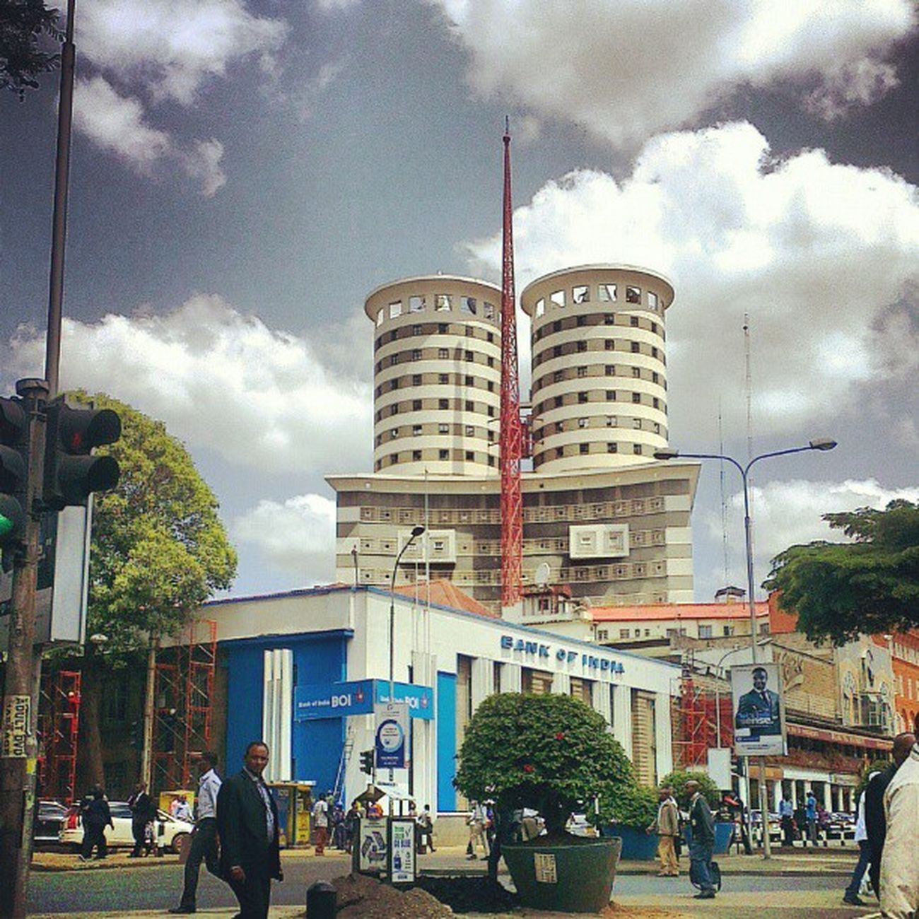 Nairobi Monday NationMediaHouse Clouds trafficlights instaclouds statigram webstagram instagram trees CBD Kenya instadroid architecture