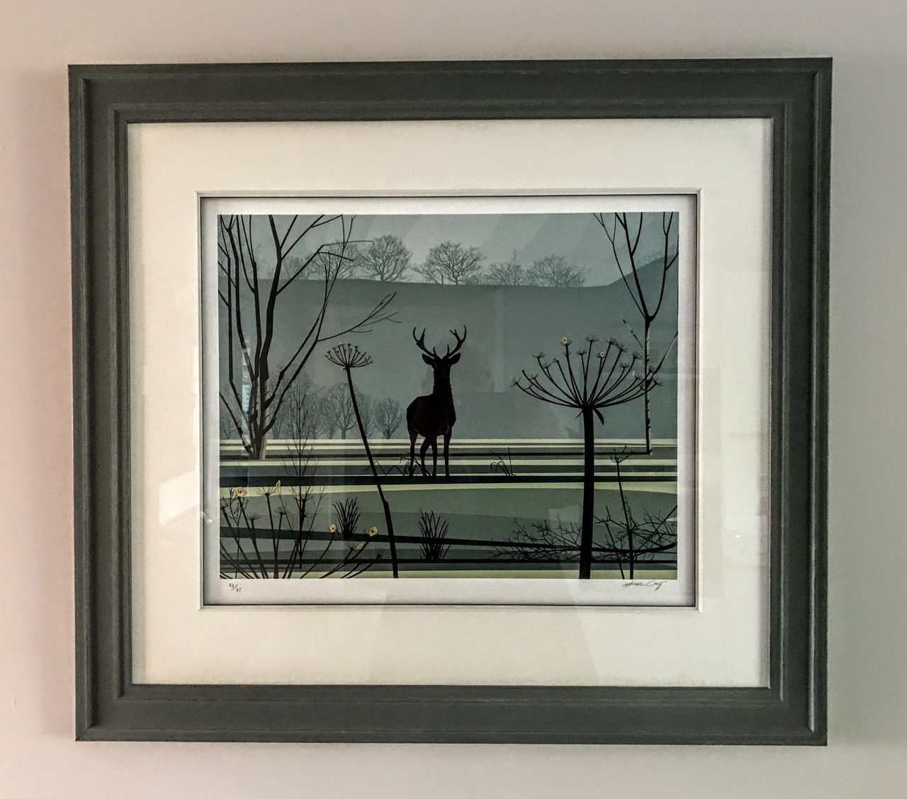 Stag in the glen Silkpainting
