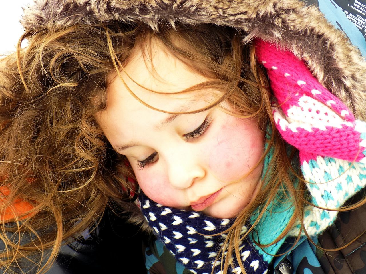 Daughter Girl Wrapped Up Winter_collection Winter Fashion Texture Headshot Close-up Human Face Beauty Kids Season  Scarf Hair Contemplative Peaceful Face Portrait EyeEm Best Shots EyeEmbestshots POTD