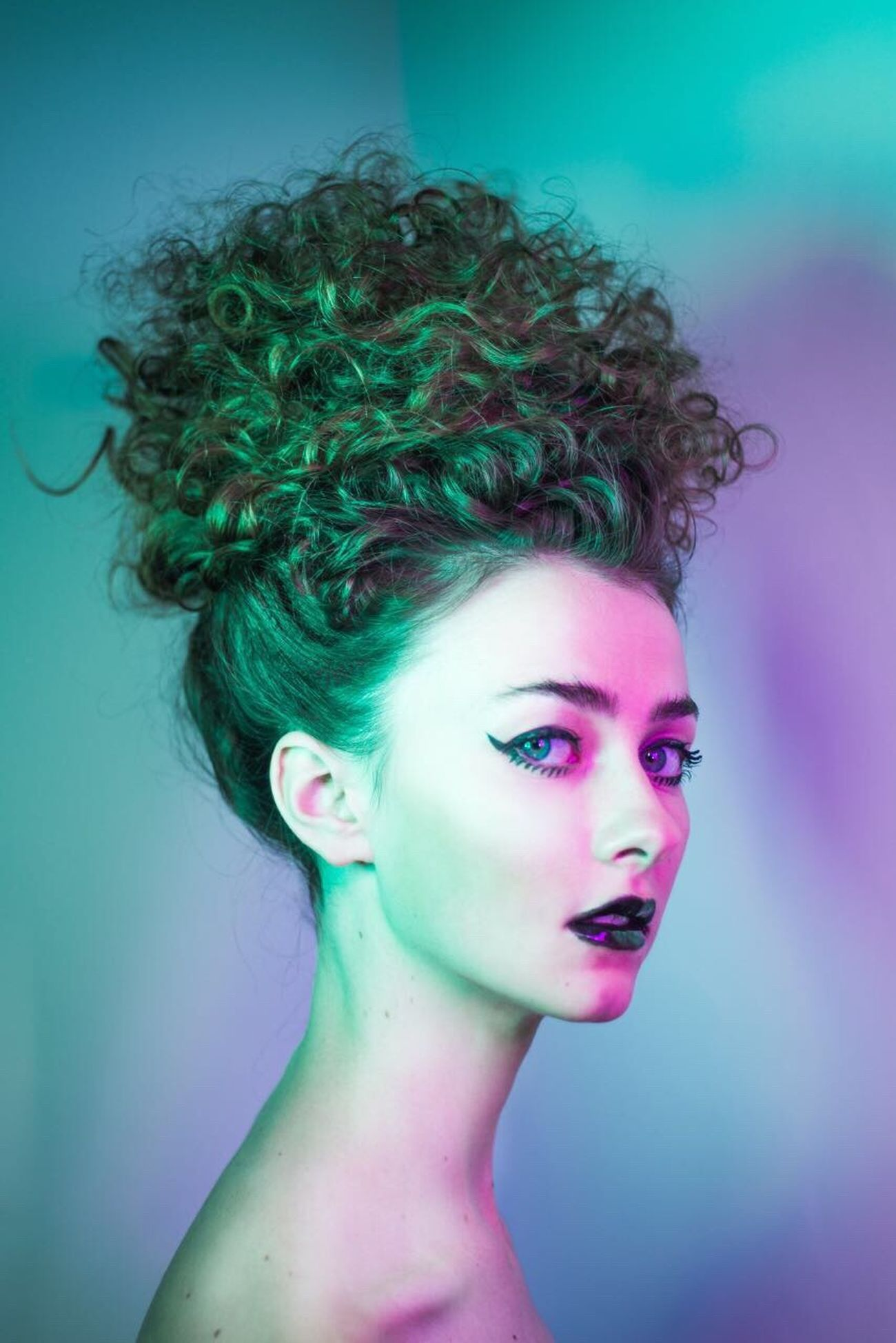Fashion Beautiful People Beauty Portrait Studio Shot Make-up Beautiful Woman Young Adult Curly Hair Studio Fashion Neon Make-up This Week On Eyeem