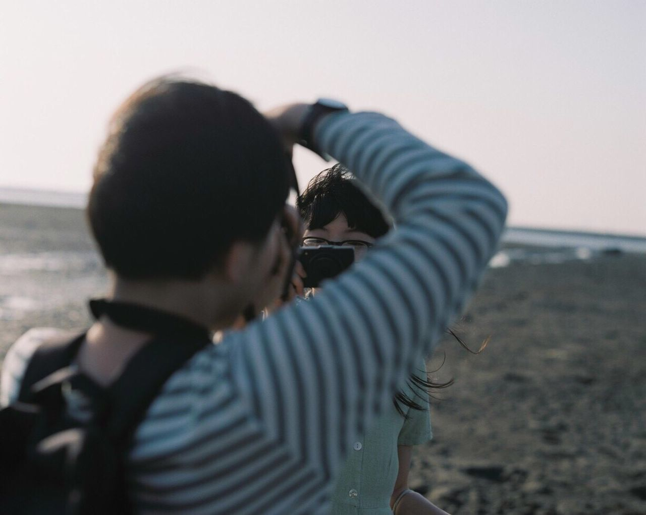 Film Filmcamera Film Photography Two People Beach