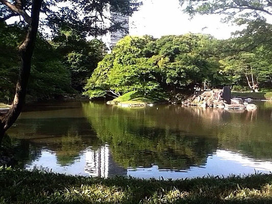 Reflection at Korakuen by @naka1978