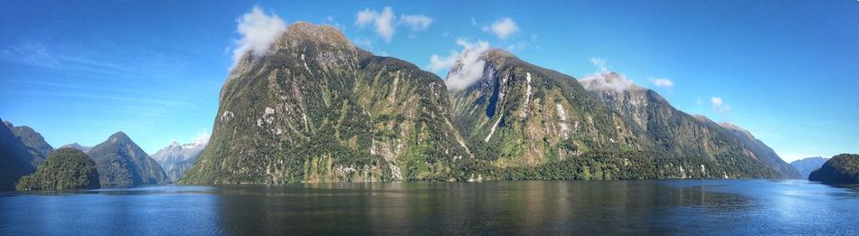 Doubtful Sound Water Sky Tree Day Travel Destinations Scenics Beauty In Nature Lake No People Outdoors Nature Doubtful Sound New ZealandMountain Peak Cloud - Sky Miles Away