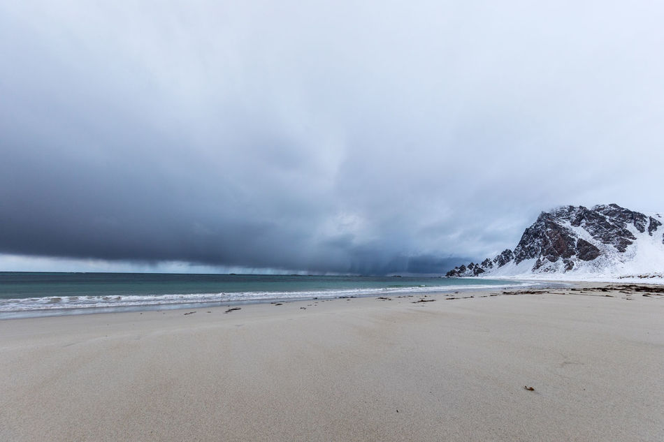 Beach Beauty In Nature Cloud - Sky Cold Temperature Day Dramatic Sky Horizon Over Water Landscape Loneliness Mountain Nature Nature No People Norway Outdoors Sand Scenics Sea Sky Storm Storm Cloud Thunderstorm Vesterålen Water Winter