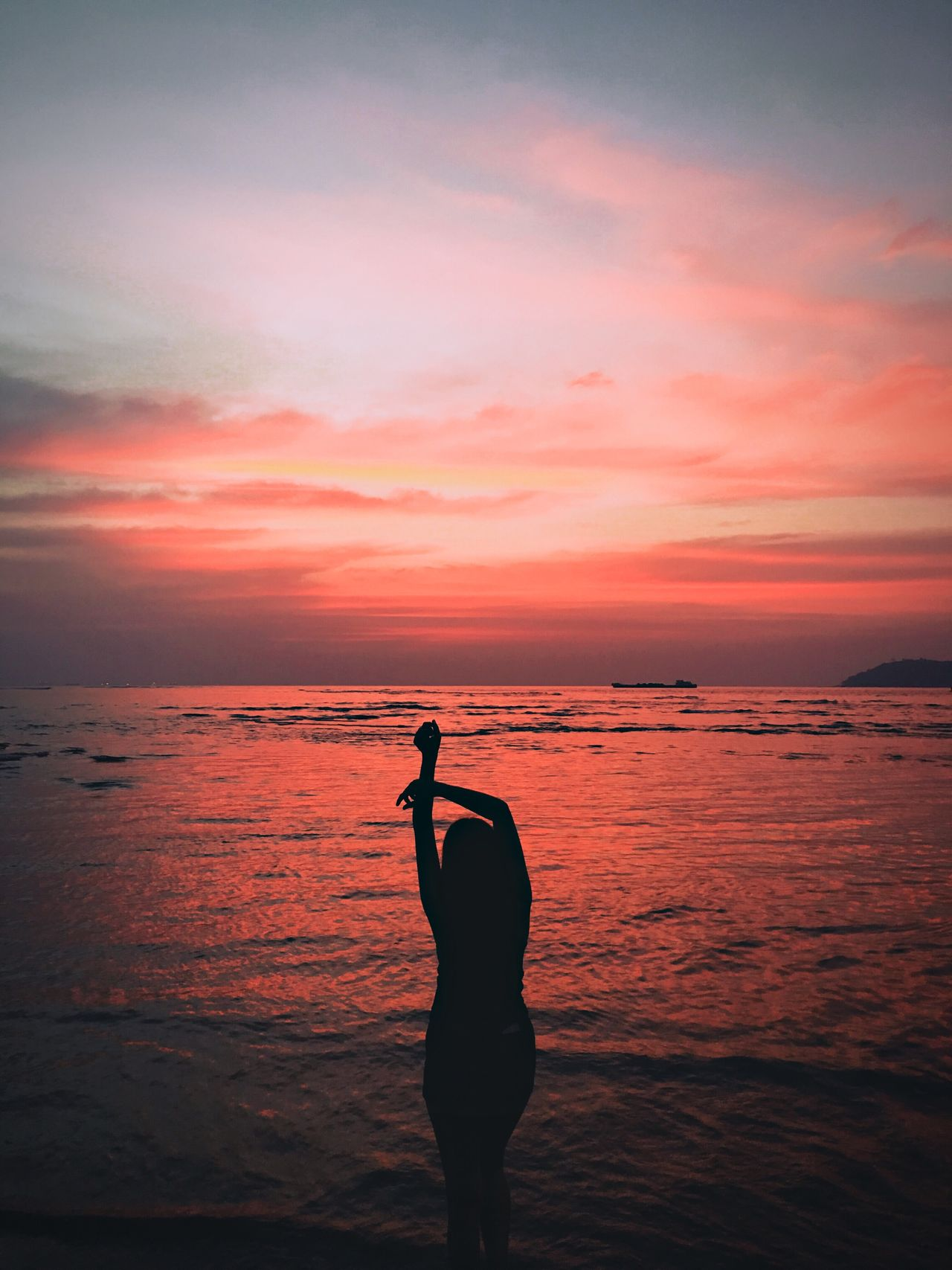 A perfect sunset In Goa. Sunset Sea Beach Sky Beauty In Nature Horizon Over Water Water One Person Silhouette Nature EyeEm Eyeem Market EyeEmBestPics Goa Sunset Silhouettes Sunsetporn Sunsets Sunset And Clouds  Model Beachphotography Silhouette Real People Orange Color Standing Sunset_collection