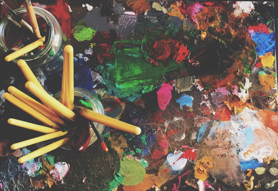 Multi Colored High Angle View No People Oil Painting Oilpainting Oil Paint Painting Paint Paint Brushes Paintbrushes