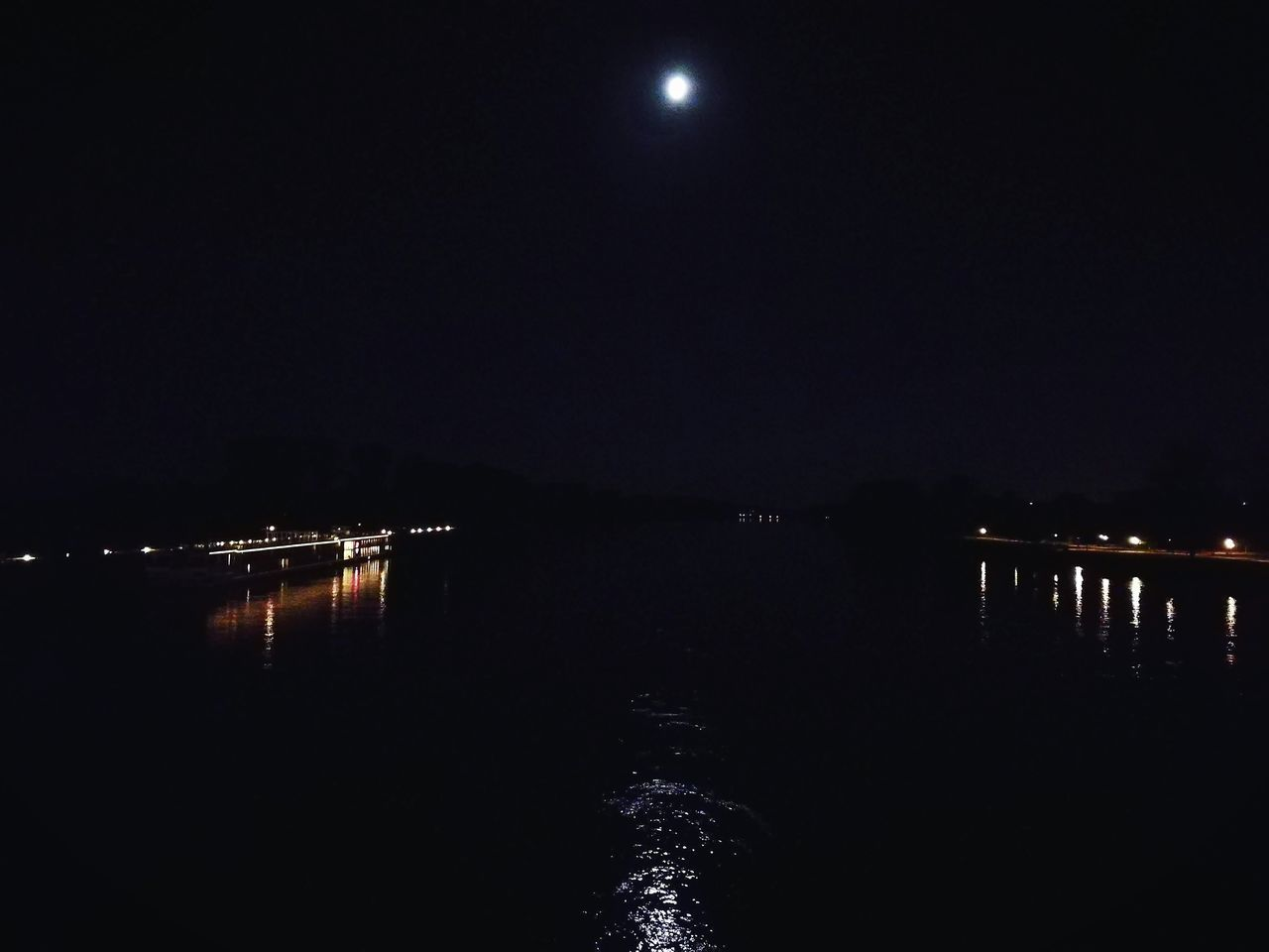 Moonlight Moon Moonshine Moon In The Water Moonlightscape Lights In The Dark Lights In The River Lights In The Night Lights In The Sky Black Water
