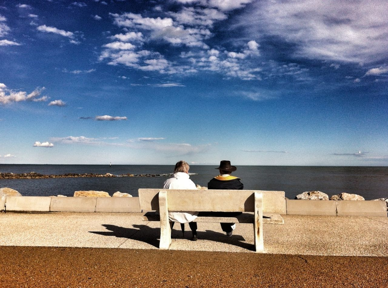 Beautiful stock photos of hat, Bench, Blue, Cloud - Sky, Day