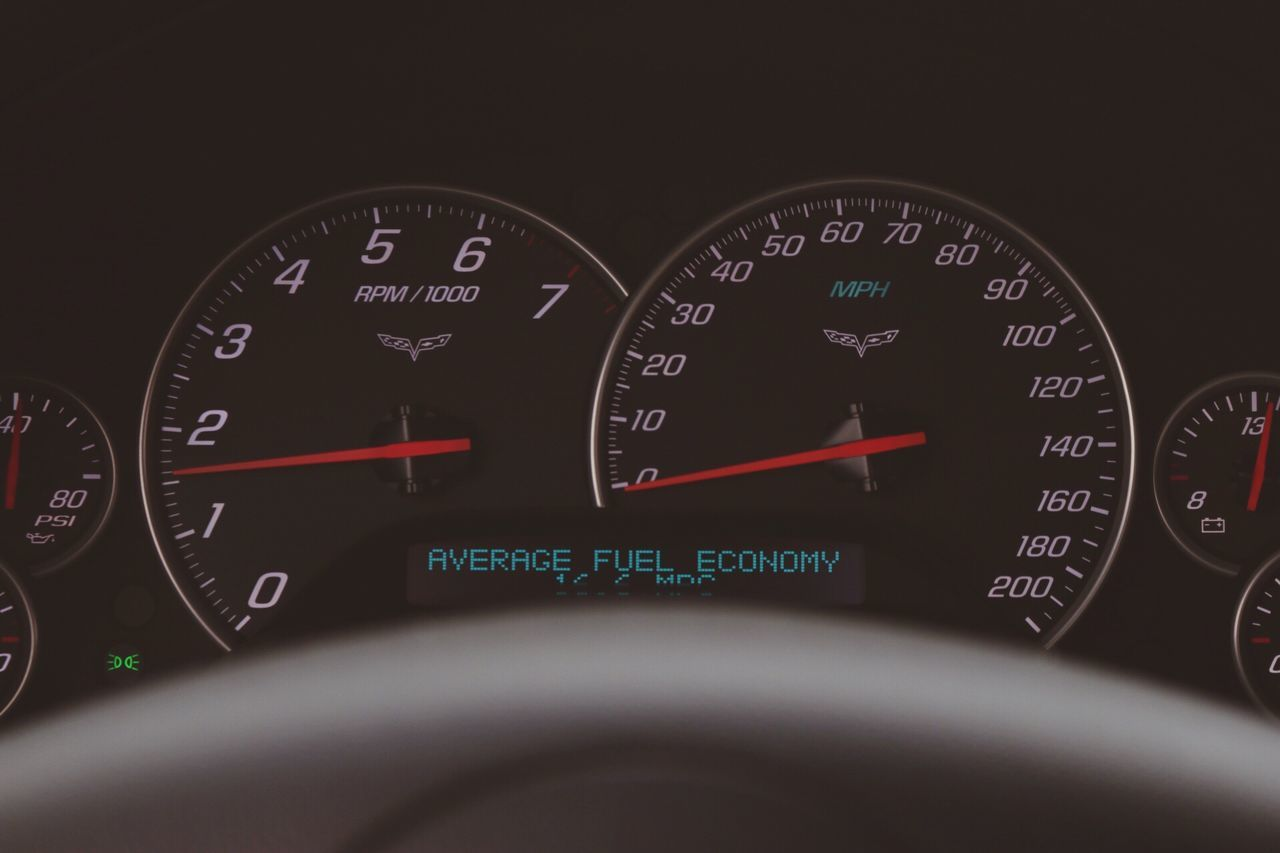 Corvette Chevy Sports Cars Engine Speedometer Gauge Dashboard Technology Communication Transportation Dial Text Meter - Instrument Of Measurement Close-up No People Day