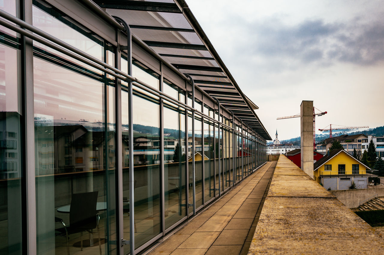 Architecture Built Structure Ceiling Column Composition Connection Corridor Diminishing Perspective Empty Engineering Flooring Glass - Material Indoors  Leading Modern Narrow Paraplegikerzentrum Perspective Railing Railroad Station The Way Forward Window