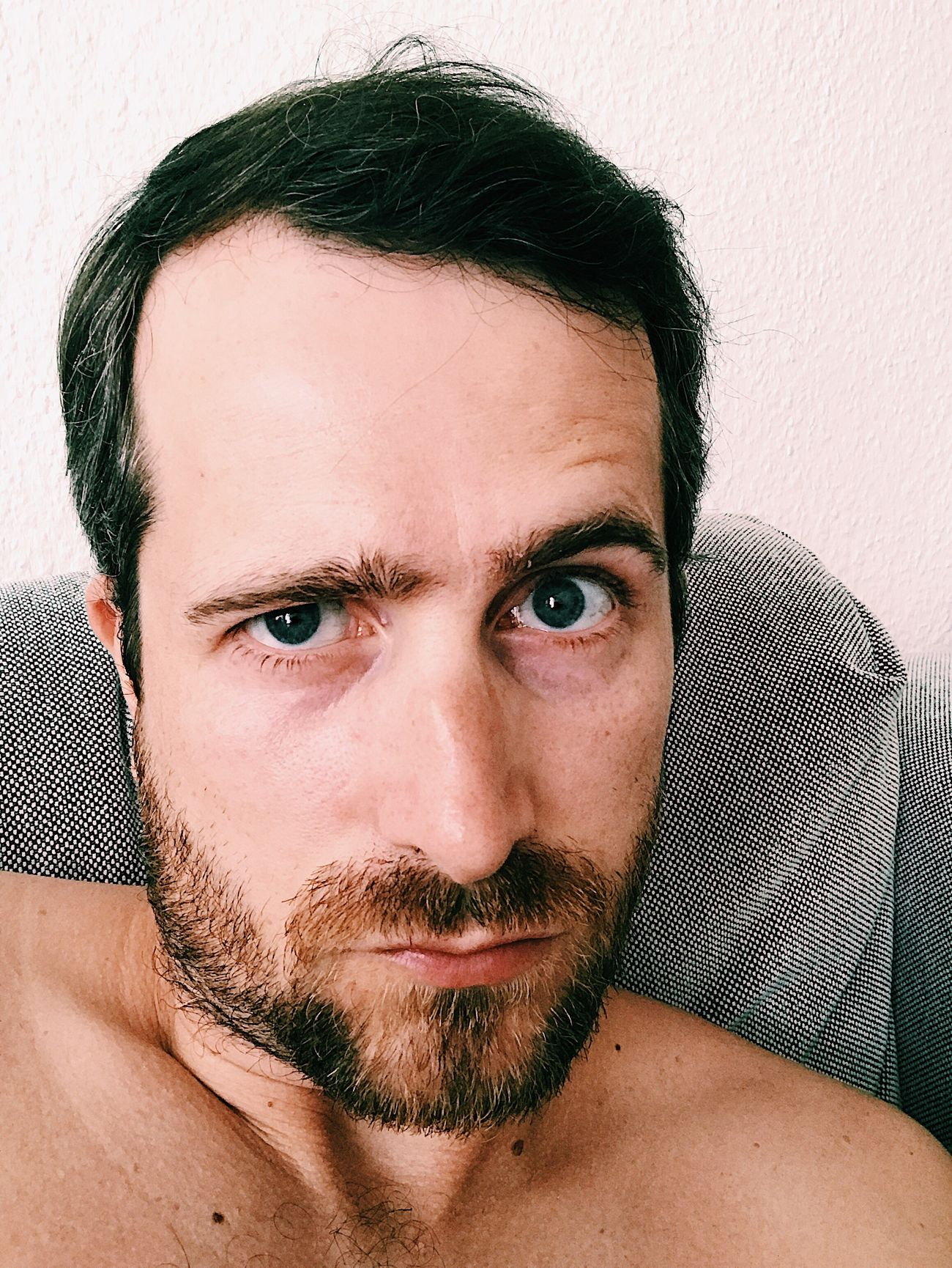 Looking At Camera Portrait Beard One Person Headshot Mid Adult One Man Only Mid Adult Men Only Men Mustache Close-up Shirtless Indoors  Human Face Handsome Adult Real People Men Adults Only Selfie