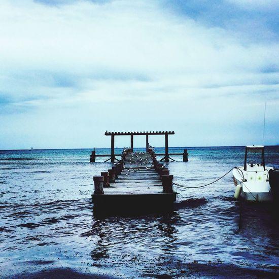 Beautiful dock in here Enjoying Life Mexico Playadelcarmen Blue Sea Goodnight Messico  Ocean My Best Photo 2015 Followforfollow Dock Blue Wave