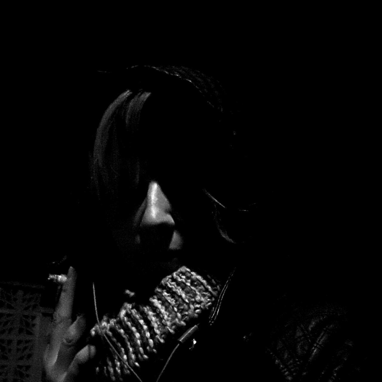 One Woman Only Black Background Night Cigarette Time Black & White Portrait Portrait Of A Woman Black And White Portrait Prague Czech Republic Autumn 3XSPUnity
