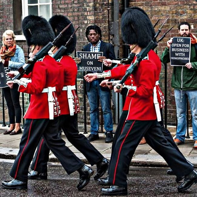 Protest Gay rights Gay Rights Soldier #guns #QueensGuards #stopaids #LGBT #Uganda #London