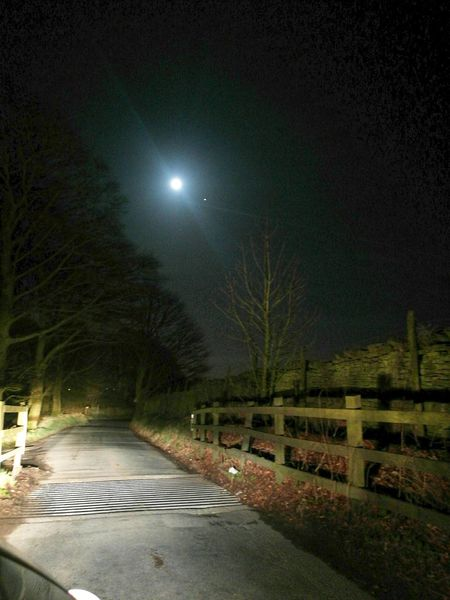 Night Illuminated Moon Street Light No People Sky Outdoors Star - Space Tree Astronomy Road To Work Beauty In Nature Nature Dark Moonlight Moon Blue Winding Road Road