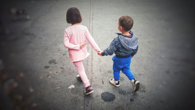 Walking together Full Length Togetherness Bonding Street Casual Clothing Lifestyles Love Leisure Activity Family Childhood Elementary Age Day Sibling Person Having A Good Time First Eyeem Photo