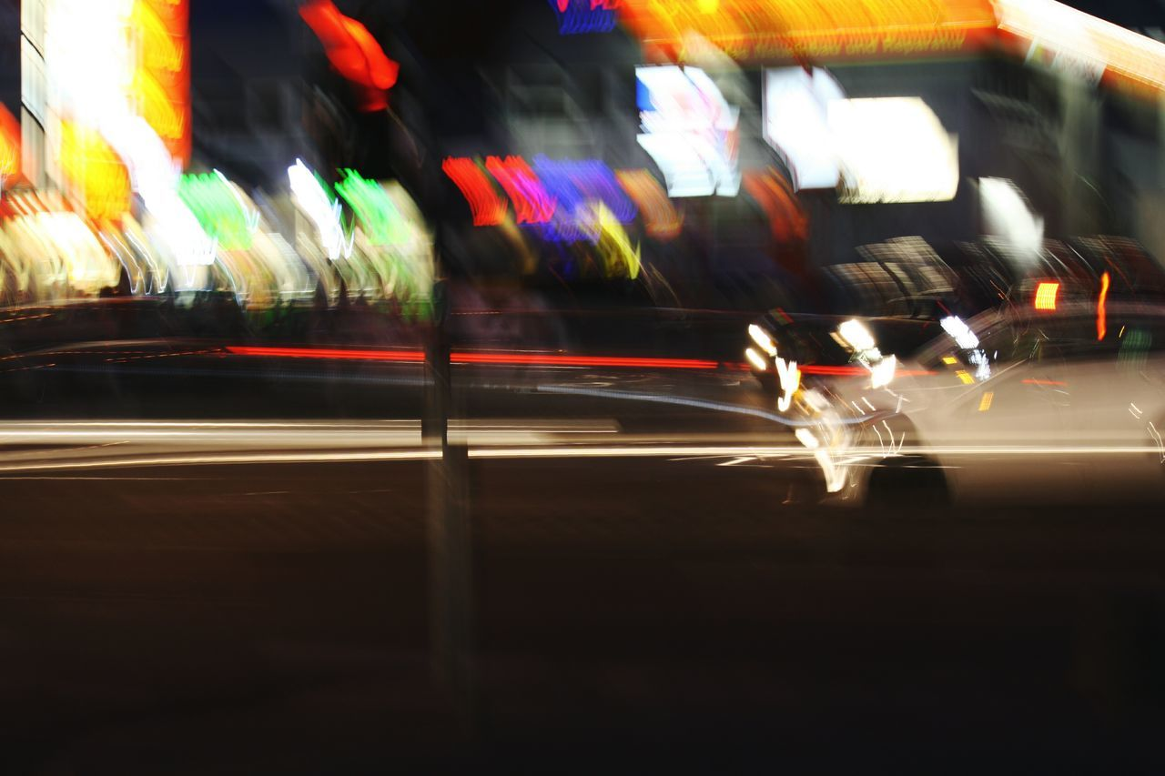 Blurred Motion Speed Illuminated Light Trail Transportation Motion Long Exposure Road Multi Colored Night City Travel Destinations Outdoors No People Moving Past Glitch Drunken On A Trip