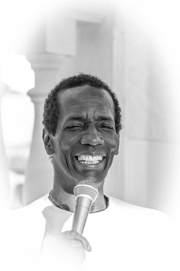 Black And White Black People Charles Role Concert Happiness Live Live Music Mallorca Microphone Musician One Person Peguera Portrait Real People Singer  Singing Smiling