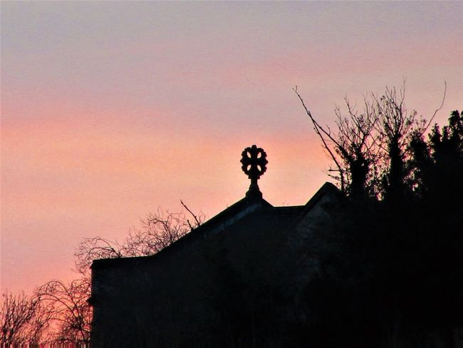 Cross Church Crowd Low Angle View Outdoors Silhouette Sky Sunset Tree
