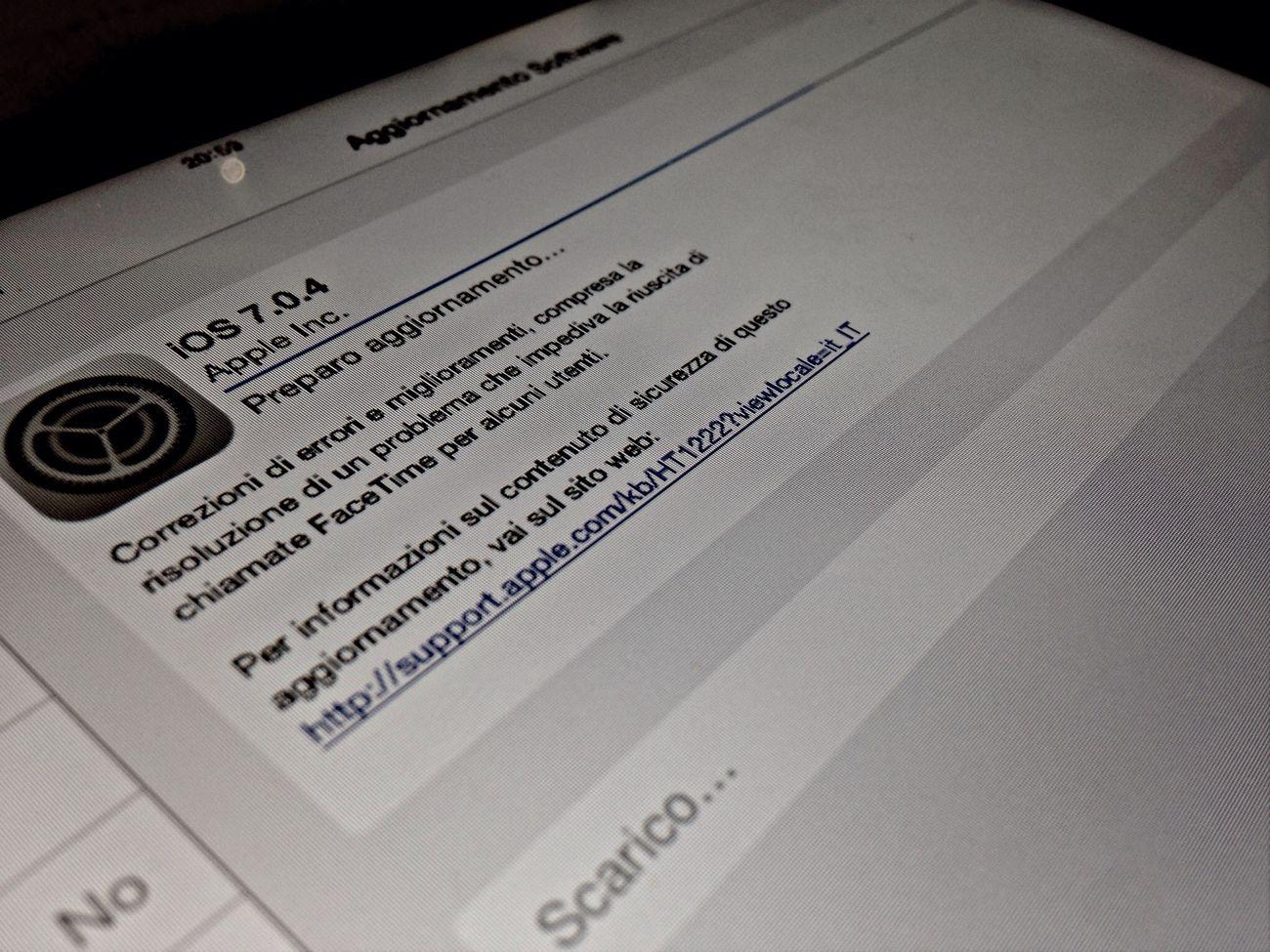 Aggiornamento IOS 7 Ipadmini Update