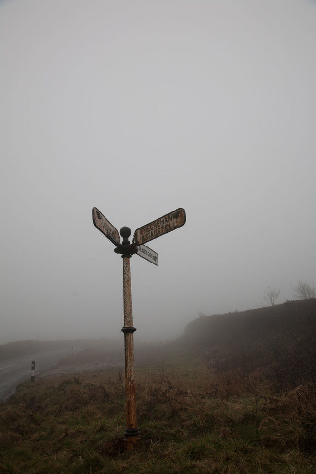 Confusion Dark Directions Foggy Gloomy Lonely No People Old Rusty Sign Tranquility Visibility