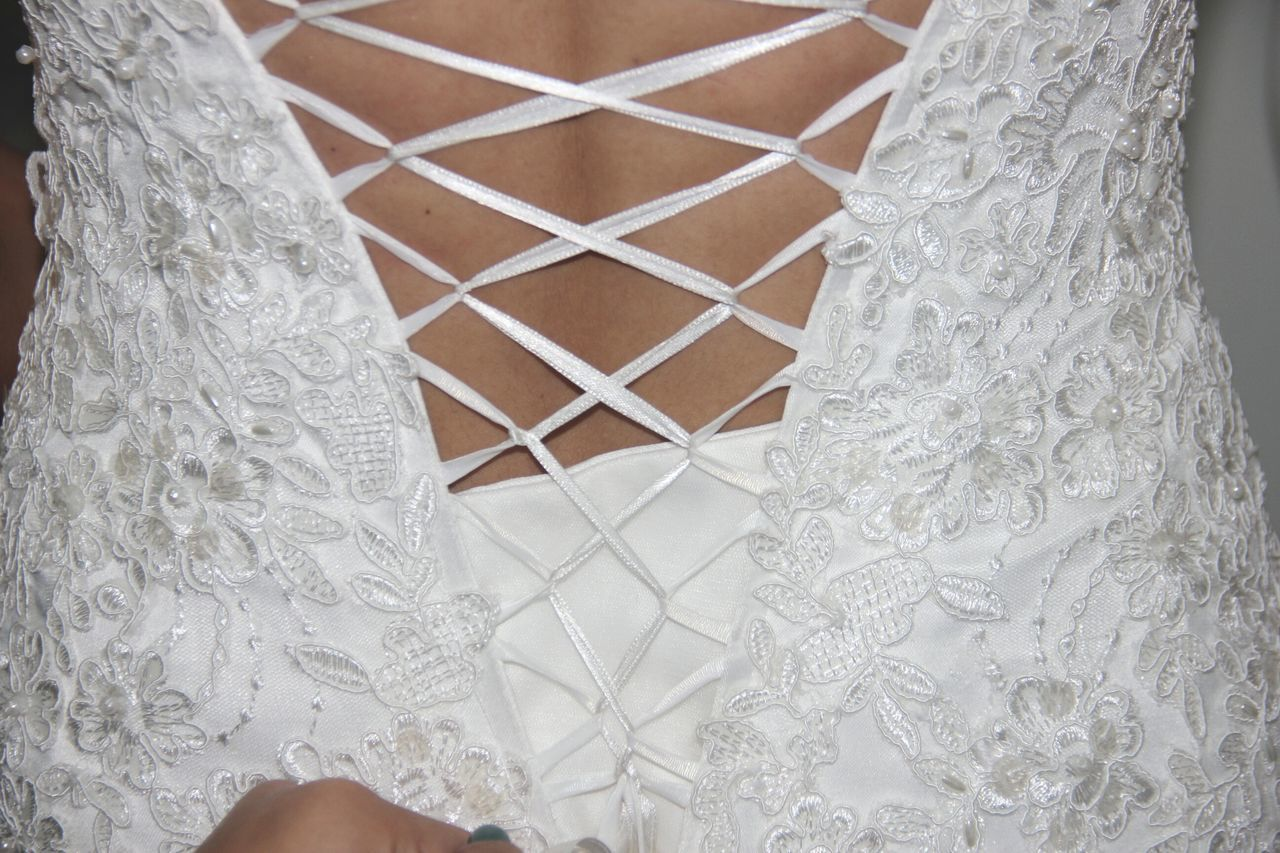 Close-up Laced Bodice Corset Wedding Day Bride Wedding Dress White Life Events Wedding Photography Pattern Wedding Lace