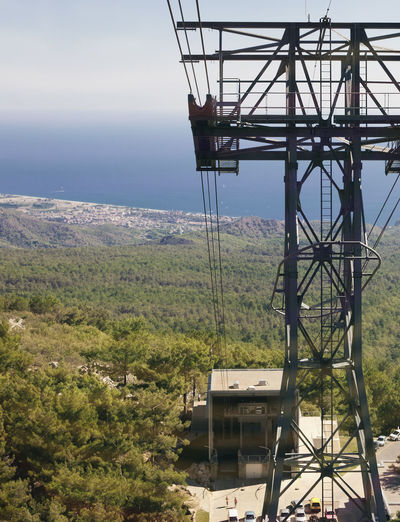 Base station and tower of mountain cable car on the Turkish Riviera Aerial View Antalya Architecture Base Cable Cable Car Elevator Engineering Industry Kemer Landscape Mountain No People Public Transportation Pylon Railway Scenics Station Tahtali Technology Tourism Tower Transportation Transportation Building - Type Of Building Turkey