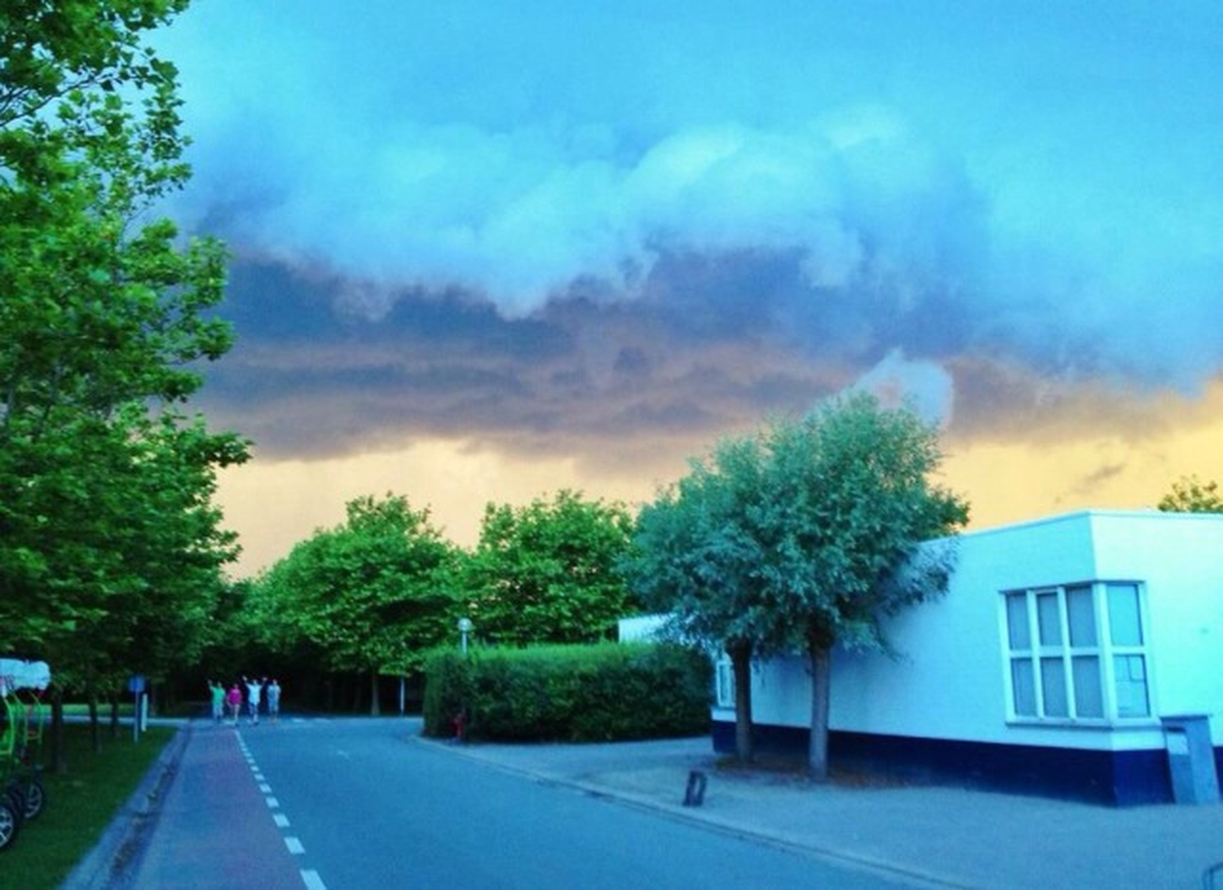 sky, building exterior, tree, cloud - sky, architecture, built structure, house, cloudy, the way forward, road, cloud, street, residential structure, nature, residential building, growth, outdoors, weather, day, storm cloud