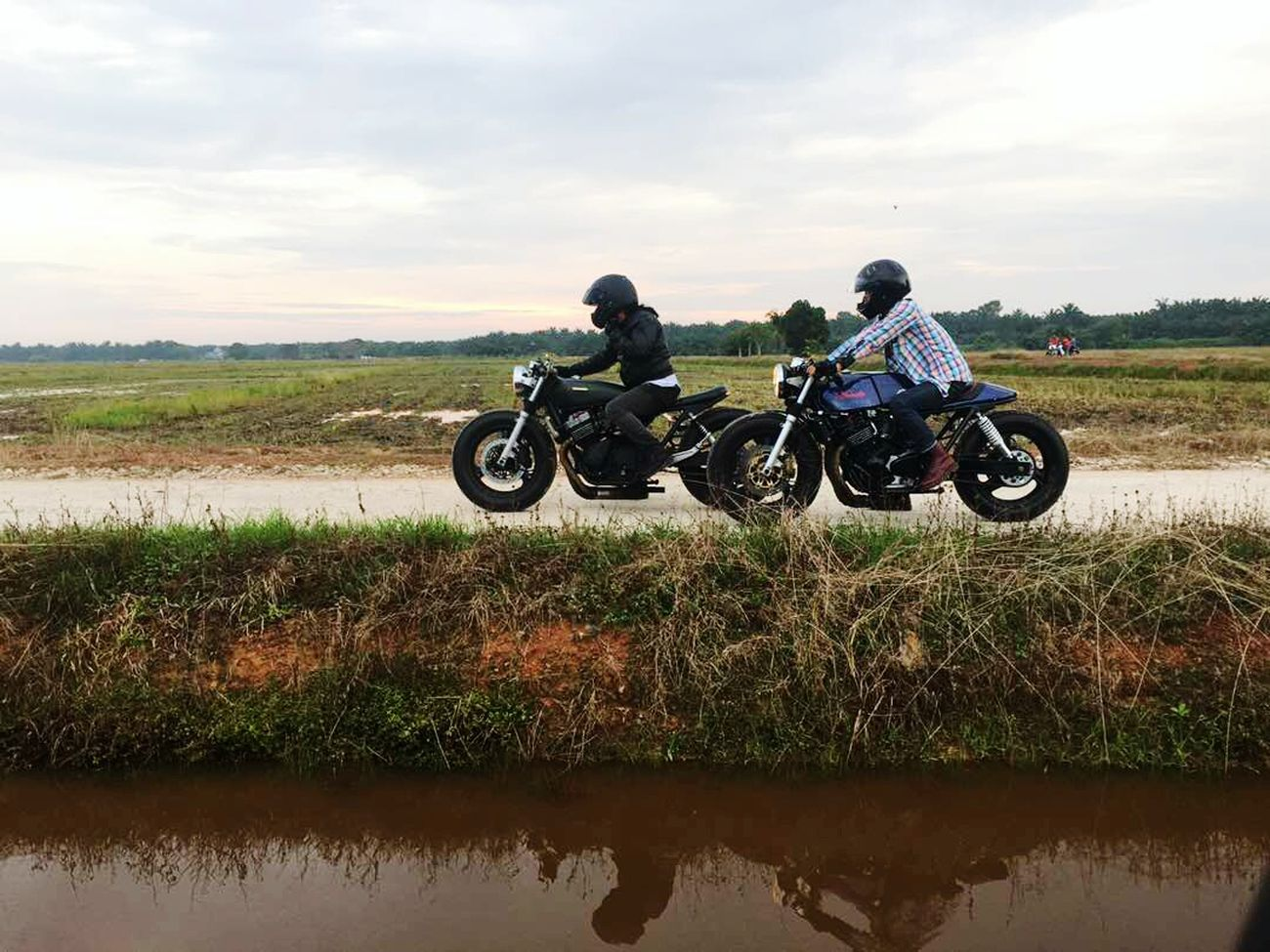 Caferacersociety Gentlemansride Caferacerdreams Motorcycle Two People Adventure Adults Only Headwear Crash Helmet Adult Only Men People Togetherness Men Day Full Length Sports Clothing Rural Scene Landscape Sky Friendship Outdoors Motocross Caferacer Caferacerculture