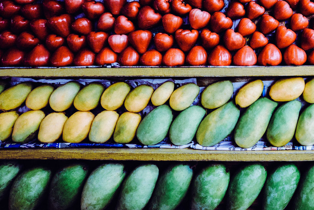 Arrangement Backgrounds Beautifully Organized Food And Drink Freshness Guavas Healthy Eating Mangoes Market Retail  Shelves Tropical Fruits Beautiful Nature Crafted Beauty