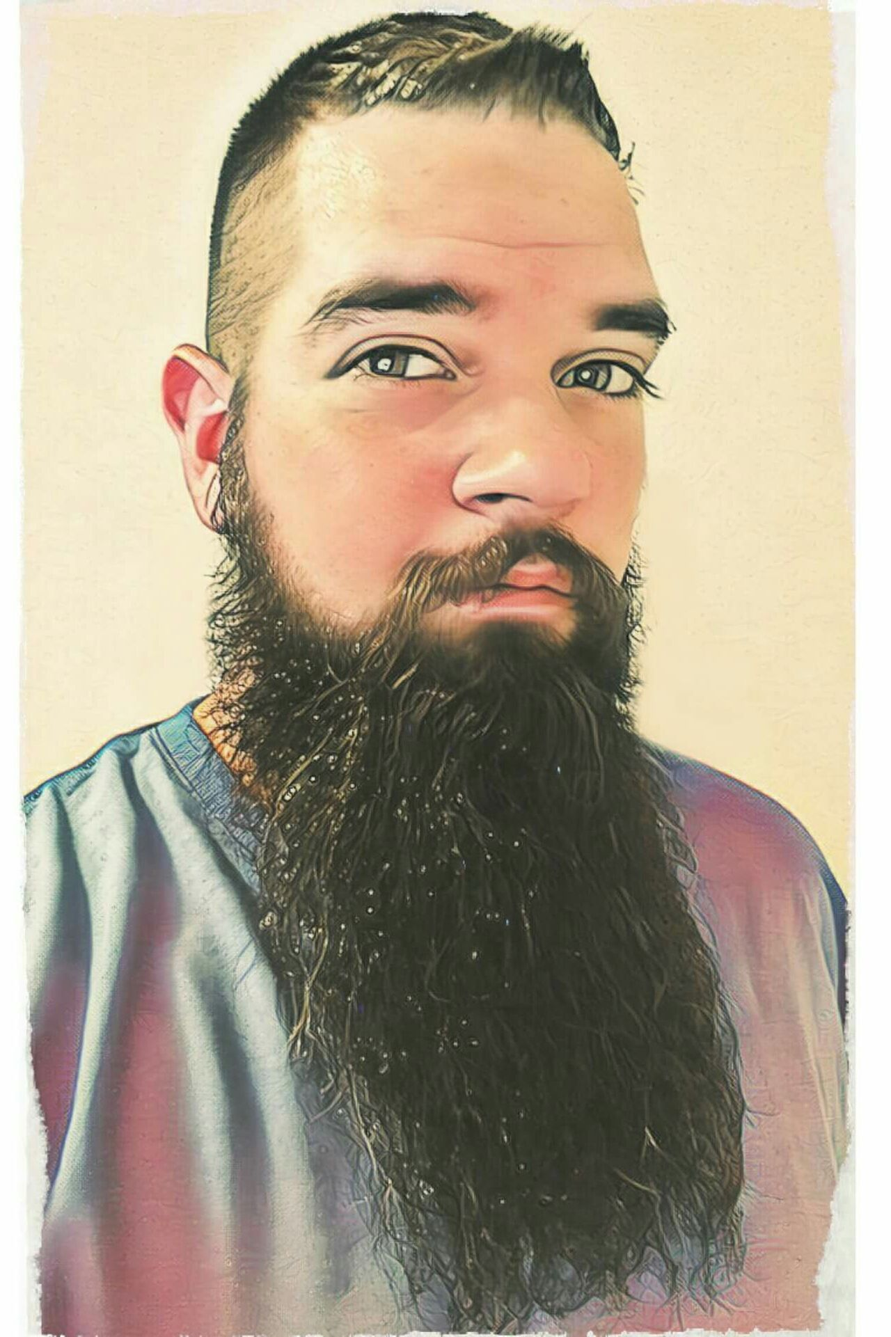 Beard Only Men Beard Young Adult One Person One Man Only Looking At Camera Portrait Front View Bearded Painting