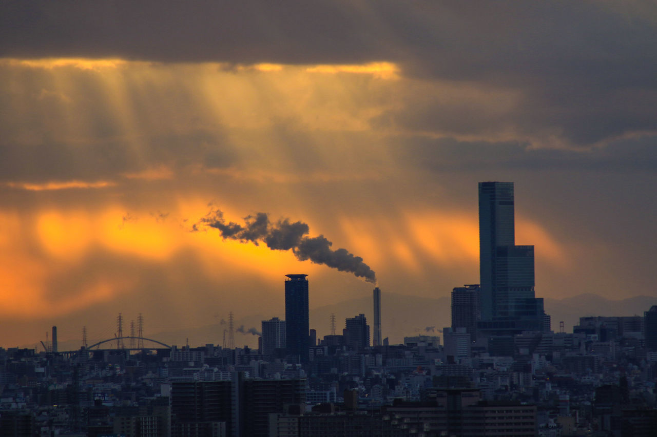 オーロラ的大阪夕景 Sunset Urban Skyline Social Issues Skyscraper City Cityscape Outdoors Architecture Air Pollution No People Sky From My Point Of View Capture The Moment Beauty In Nature EyeEmNewHere Orenge Colors Orenge Sky OSAKA Japan Japan Photography The City Light