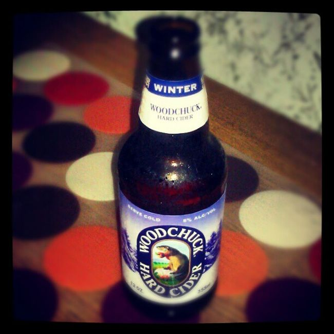 Enjoying a Winter flavored Woodchuck Hardcider on a friday night, watching movies.