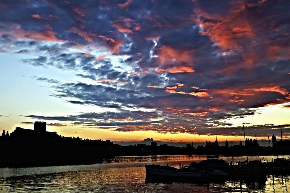 Berlin Cloud - Sky Dramatic Sky Rummelsburger Bucht Silhouette Sky Sunset Water Waterfront