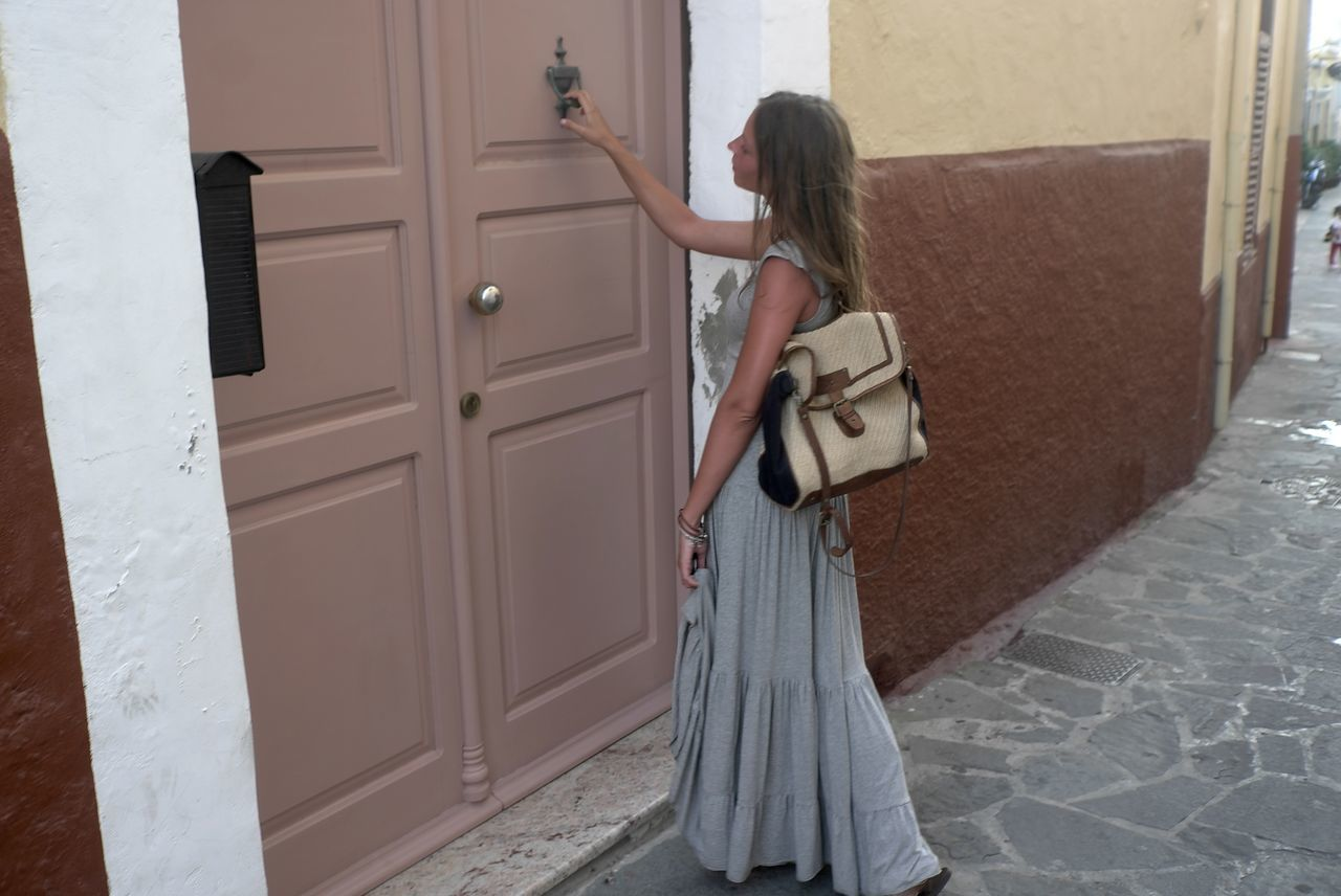 Beige Tones Brown Door Grey Dress Knock On The Door Nature Colors One Person Waiting Bag Journey