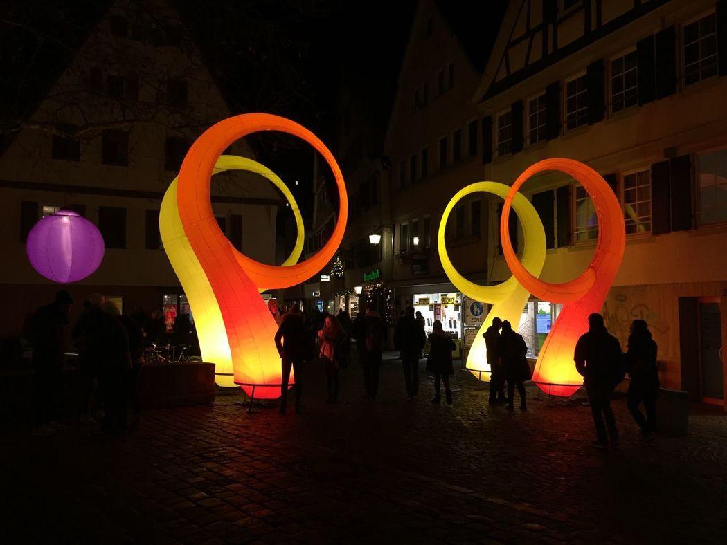 #tübingen #chocolart #lights #night ChocolART Tübingen Building Exterior Real People Illuminated Nightlife City People Outdoors