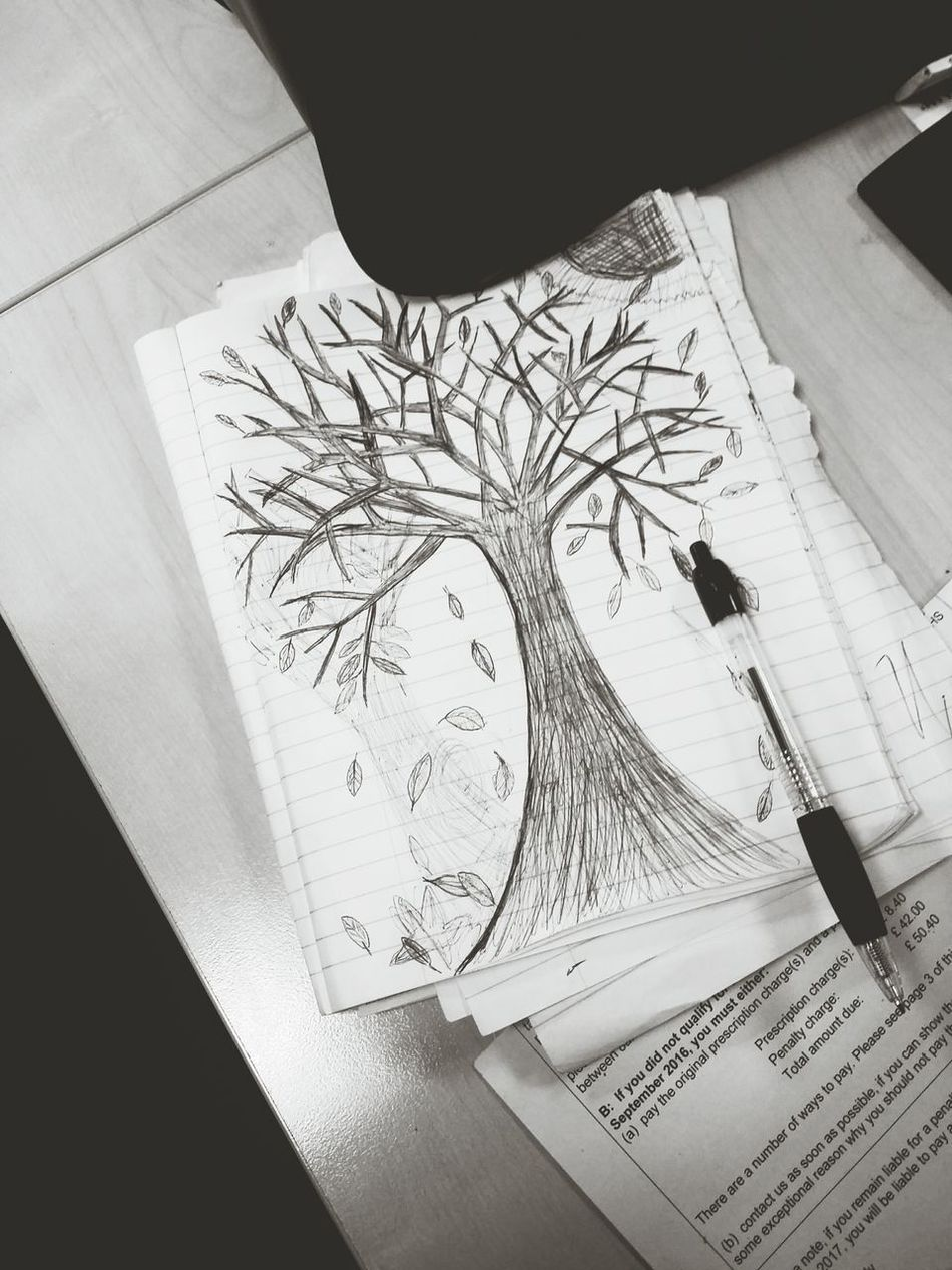 Tree Trunk Intriguing ArtWork Drawing Bored At Work Outdoors No People Life CAST