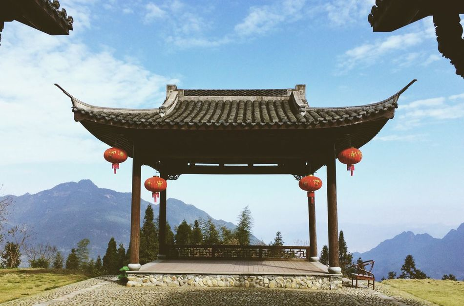 China Miuntains Chinese Architecture On Top Of A Mountain View From The Top The Great Outdoors With Adobe
