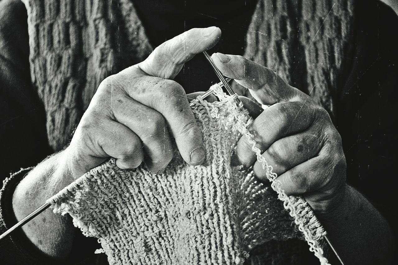 Human Hand Knitting Knitting Needle Women Close-up Romania Traditional