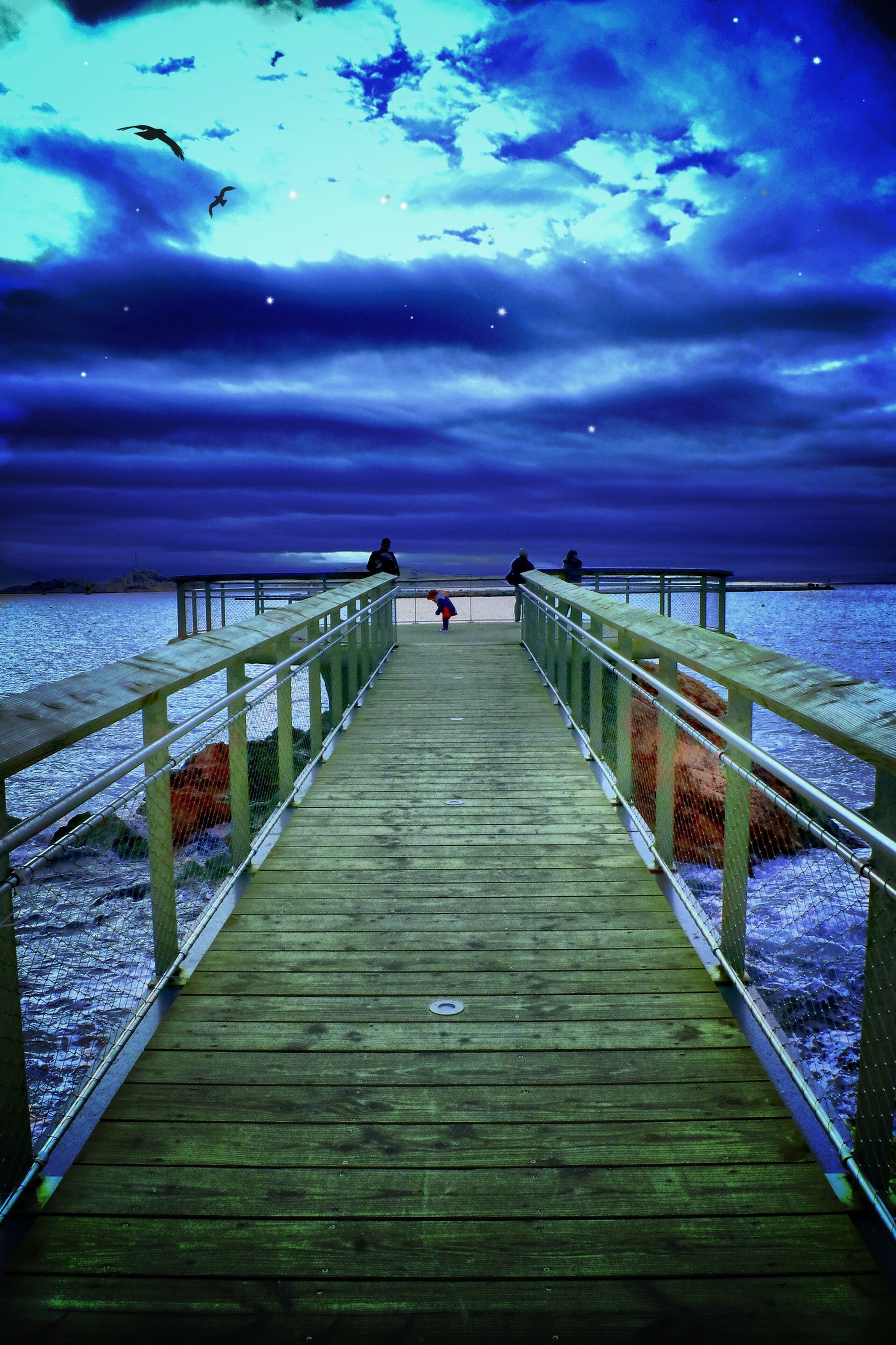 pier, water, sky, sea, railing, the way forward, wood - material, boardwalk, cloud - sky, horizon over water, tranquility, tranquil scene, scenics, nature, jetty, wood, cloud, beauty in nature, blue, diminishing perspective