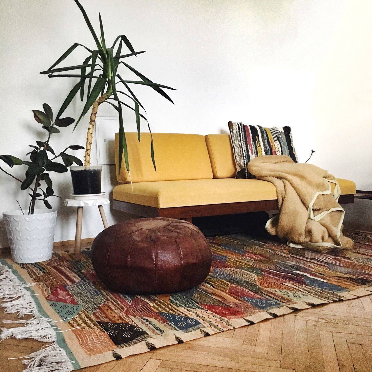 Living Room Hipster Living Yellow Sofa Home Interior Indoors  Cosy Apartment