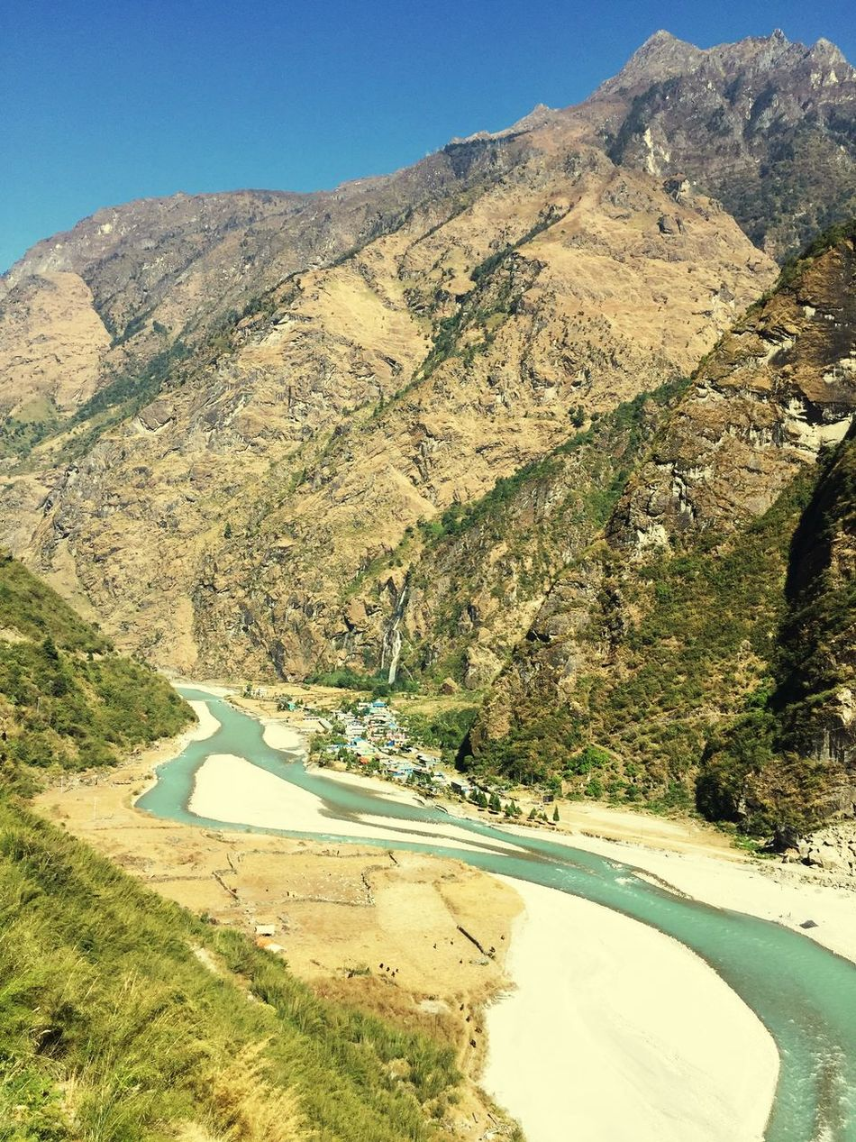 Mountain Beauty In Nature Nature Non-urban Scene Scenics Tranquility Road Mountain Road No People Tranquil Scene Day Winding Road Outdoors Landscape Small Village Tal Himalayan River Most Beautiful Place On Earth❤ Trekking Route Nepal Annapurnacircuit November Travel Destinations