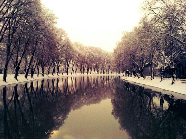 Nature River Winter Water Reflection