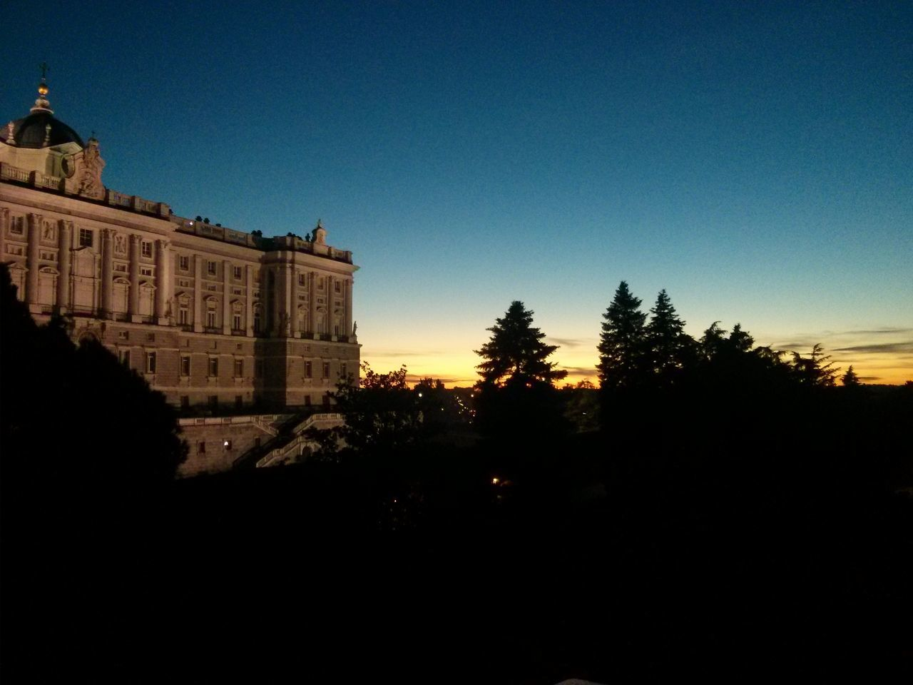 Royal palace, Madrid Royal Palace Palacio Real, Madrid, Spain Sunset Night Sky