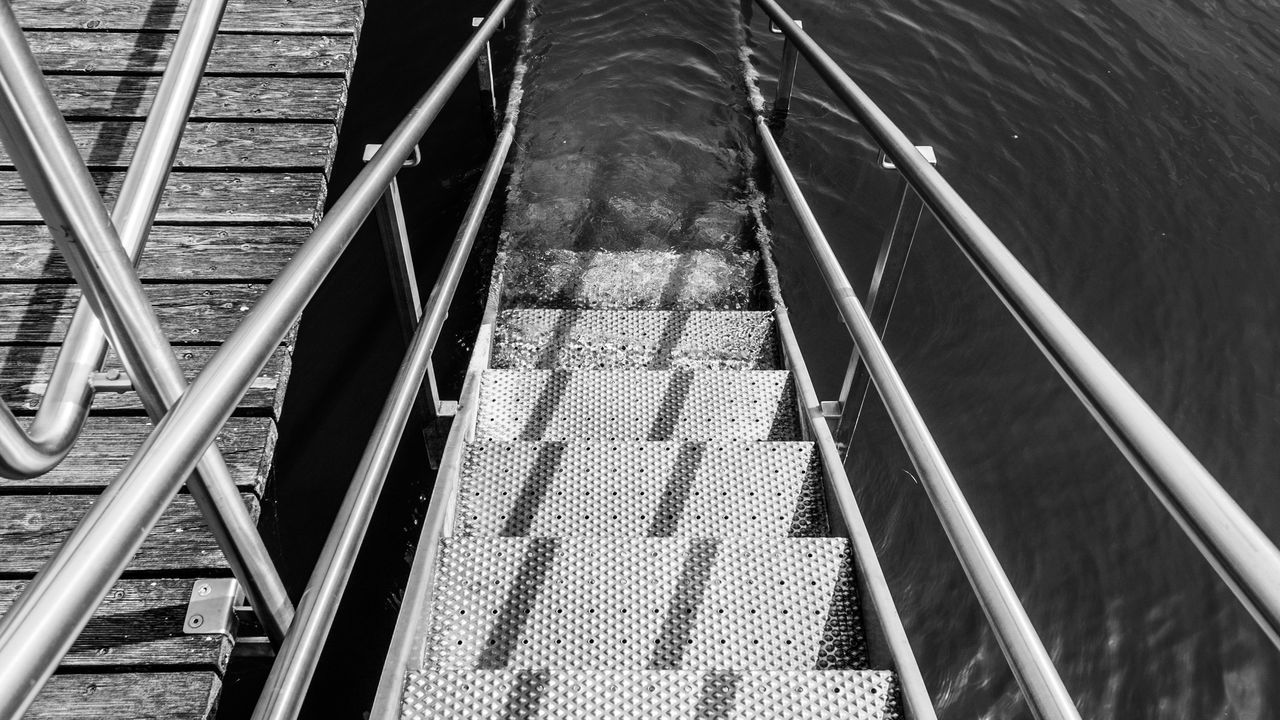 Black And White Cold Temperature Day Into The Water Metal No People Outdoors Stairs Stairway Swimming Water