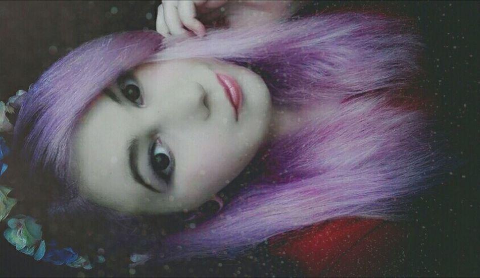 ThatsMe Selfies Selfie ✌ Portraits Portrait Like4like Photooftheday Picoftheday Lipstick Lips Eyes Makeup Plugs Plug Alternativegirl Haircolor Coloredhair Old Pic  Longhair Purple Hair Roses Rose🌹 Flowers Snapseed Girl