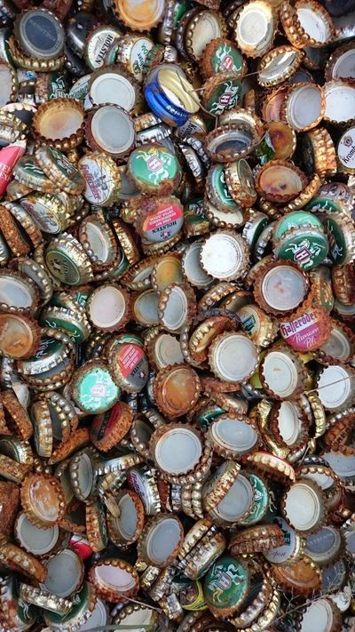 Abundance Backgrounds Bottle Cap Bottle Cap Art Close-up Crown Cap Detail Full Frame Large Group Of Objects Multi Colored Old Ornate Pattern Pattern Pieces Pattern, Texture, Shape And Form Patterns Patterns & Textures Repetition Rust Rusty Still Life
