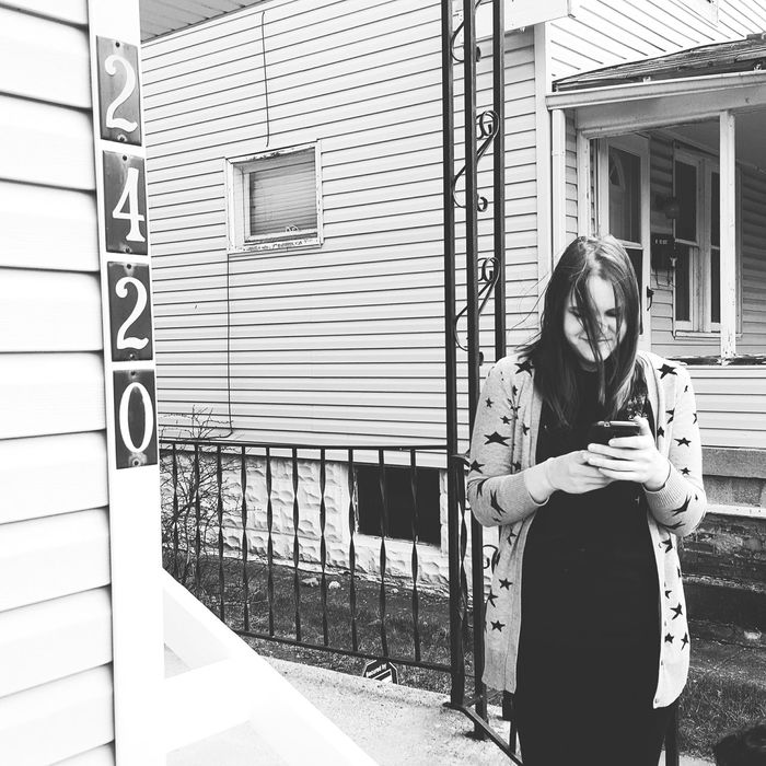 Hanging Out Moving Enjoying Life Responsibilities New House Address Numbers Black And White Sister Family Porch Young Woman Girl