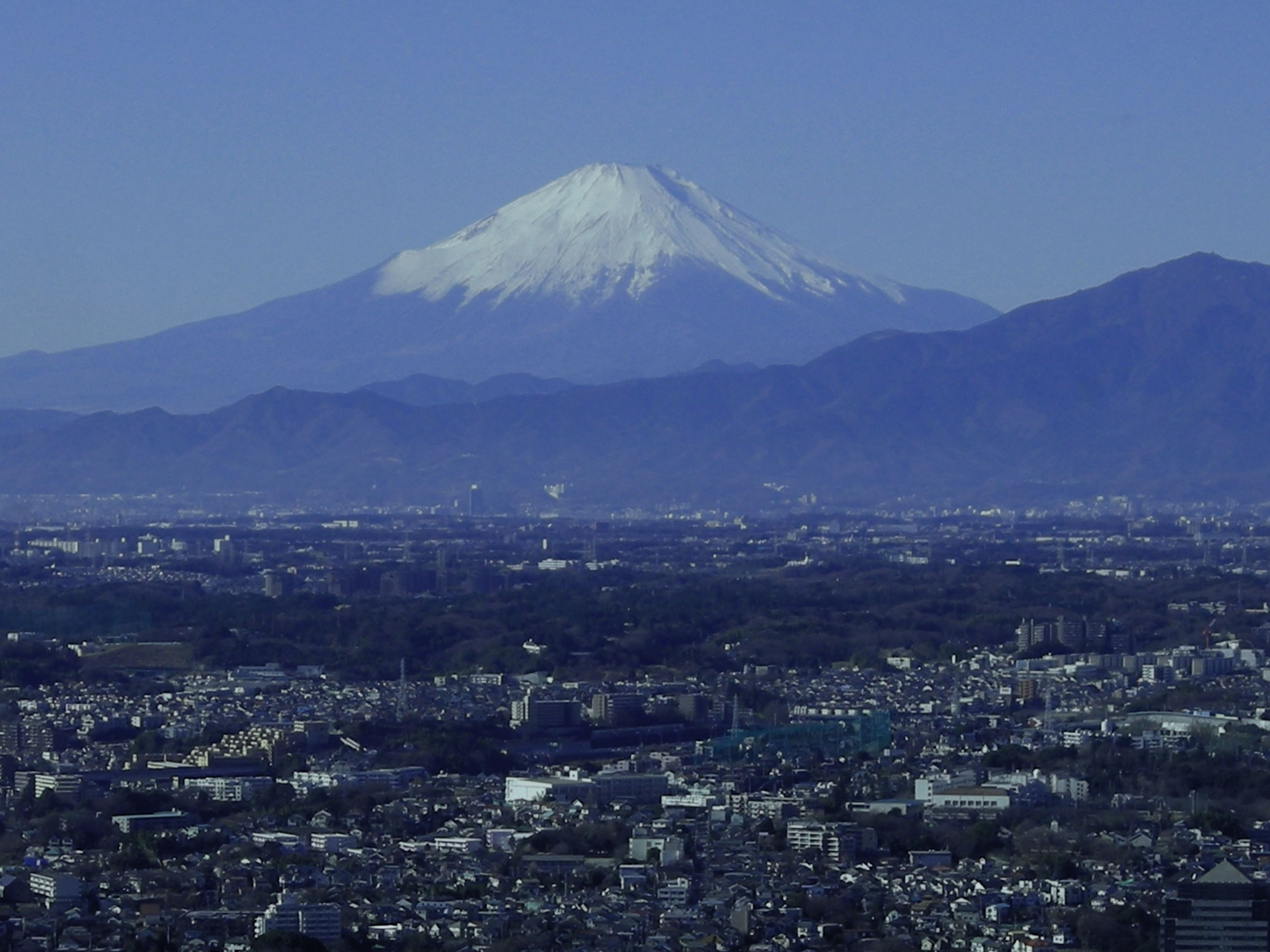 Architecture Beauty In Nature Blue Building Exterior Built Structure City Cityscape Clear Sky Day Fuji-yama Landscape Mountain Mountain Peak Nature No People Outdoors Scenics Sky Travel Destinations Volcano