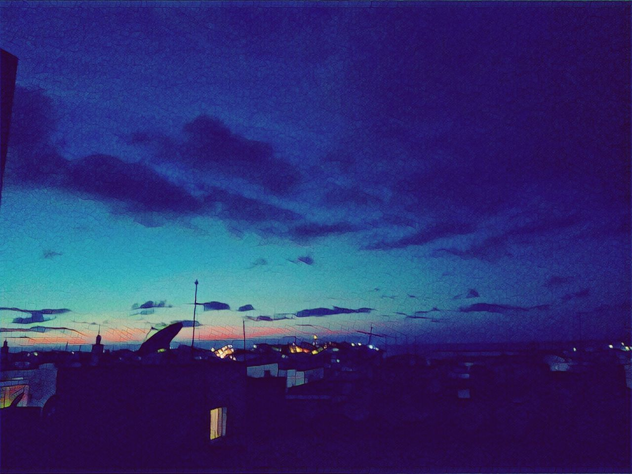 View of my room by night (dragon effect on prisma) Sky Outdoors Nature No People Colors Blue Sea Nuage Lumière Light And Shadow Cityscape Building Exterior City Built Structure Architecture Day First Eyeem Photo
